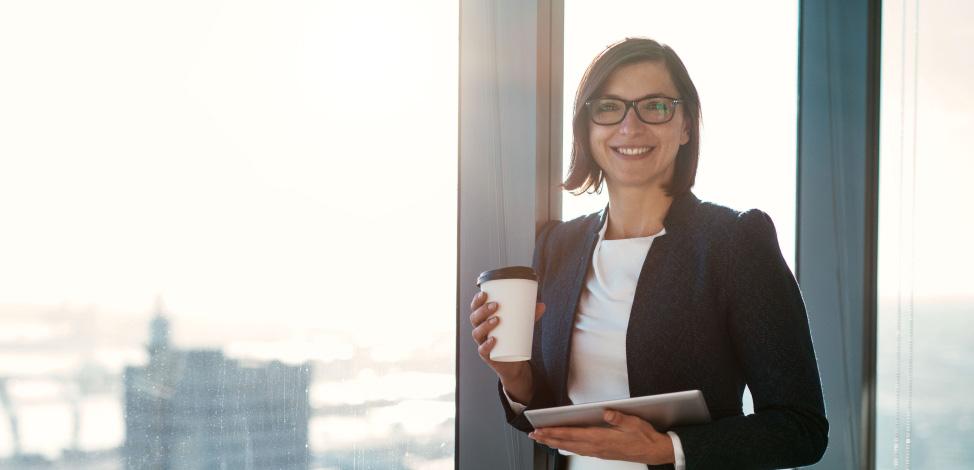 lady holding coffee